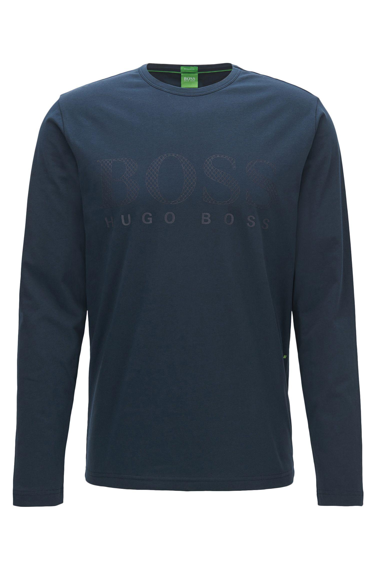 T-shirt regular fit a maniche lunghe in jersey con logo stampato tono su tono