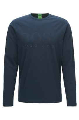 Regular-fit long-sleeved jersey T-shirt with tonal logo print , Dark Blue
