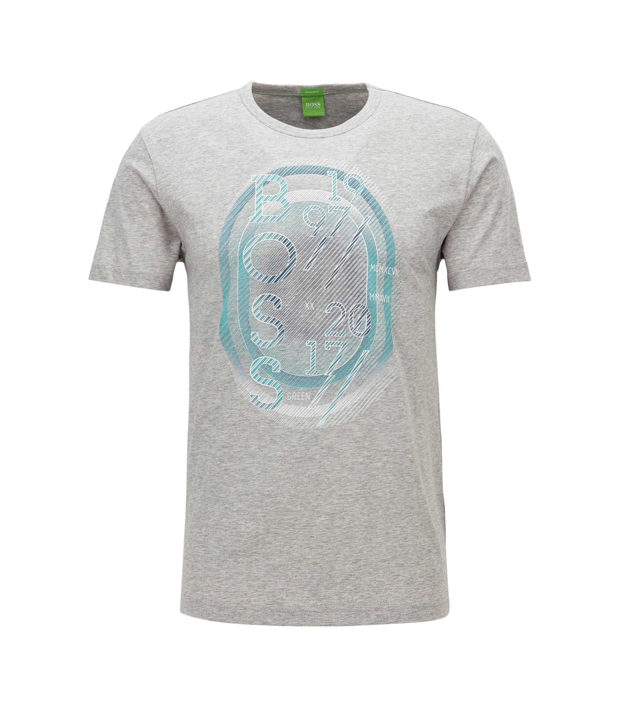 Camiseta regular fit en punto sencillo, Gris claro