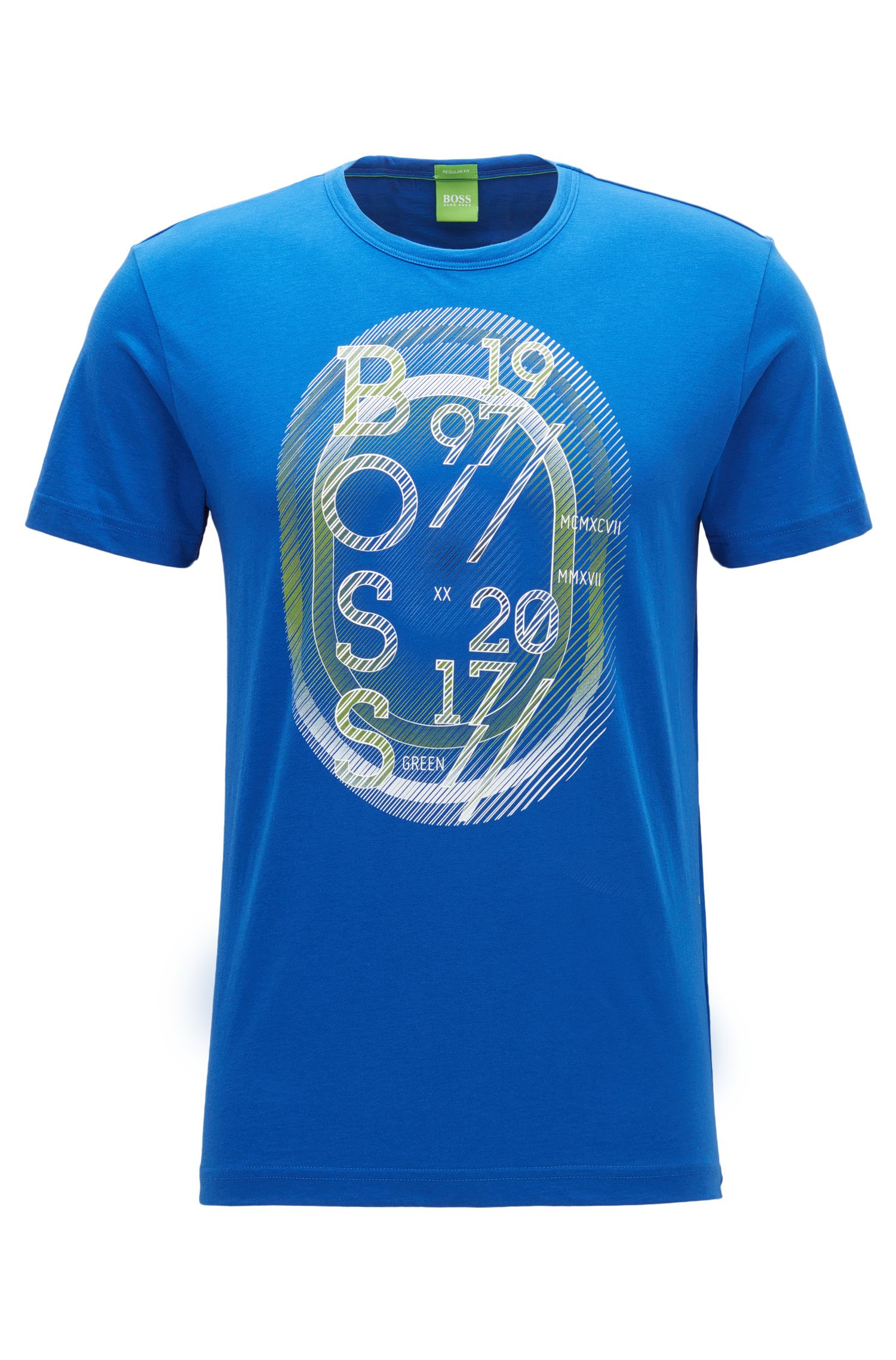 Regular-fit T-shirt van singlejersey, Blauw