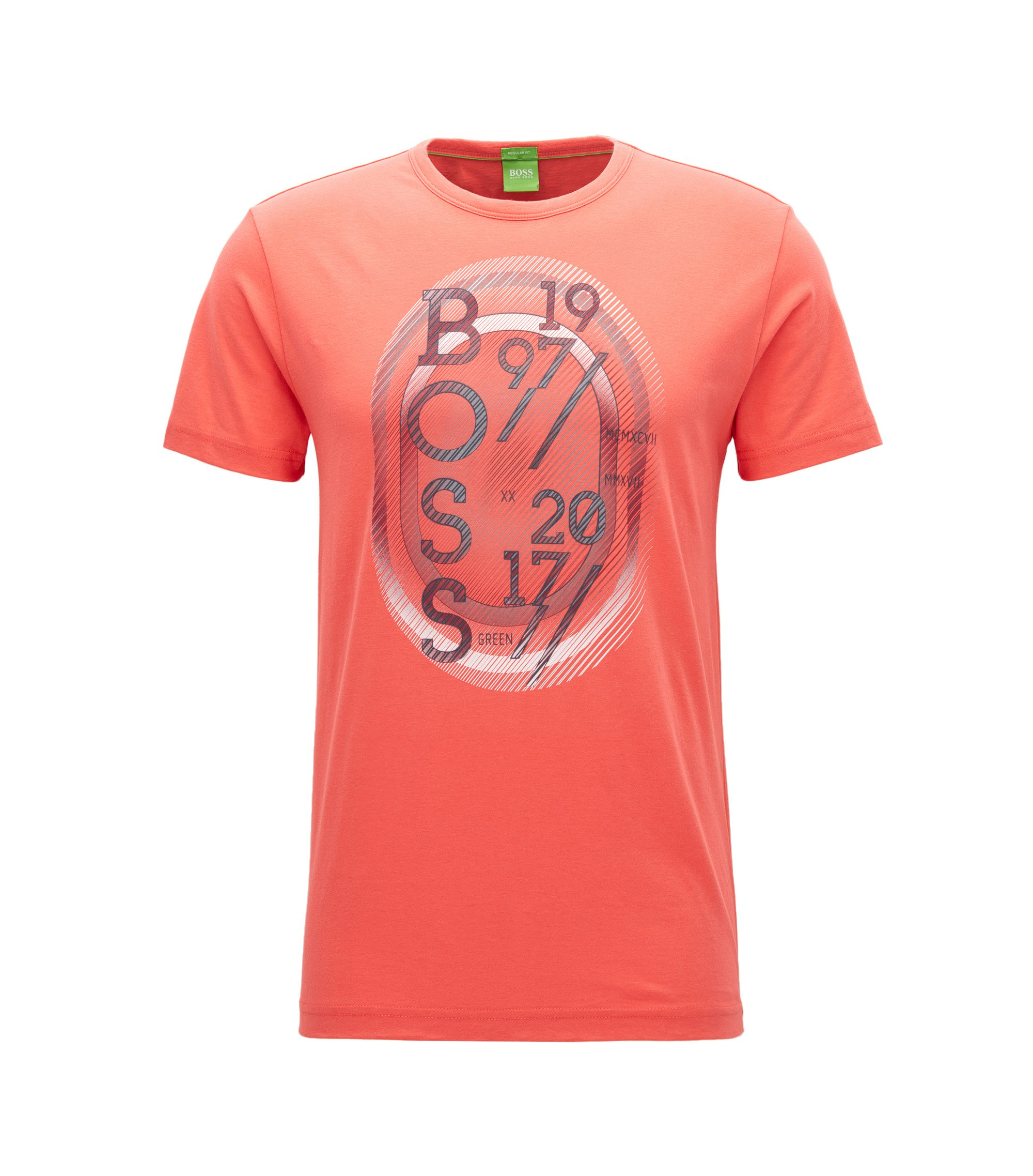 T-shirt regular fit in jersey, Rosa scuro