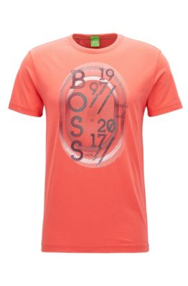 Camiseta regular fit en punto sencillo, Rosa oscuro