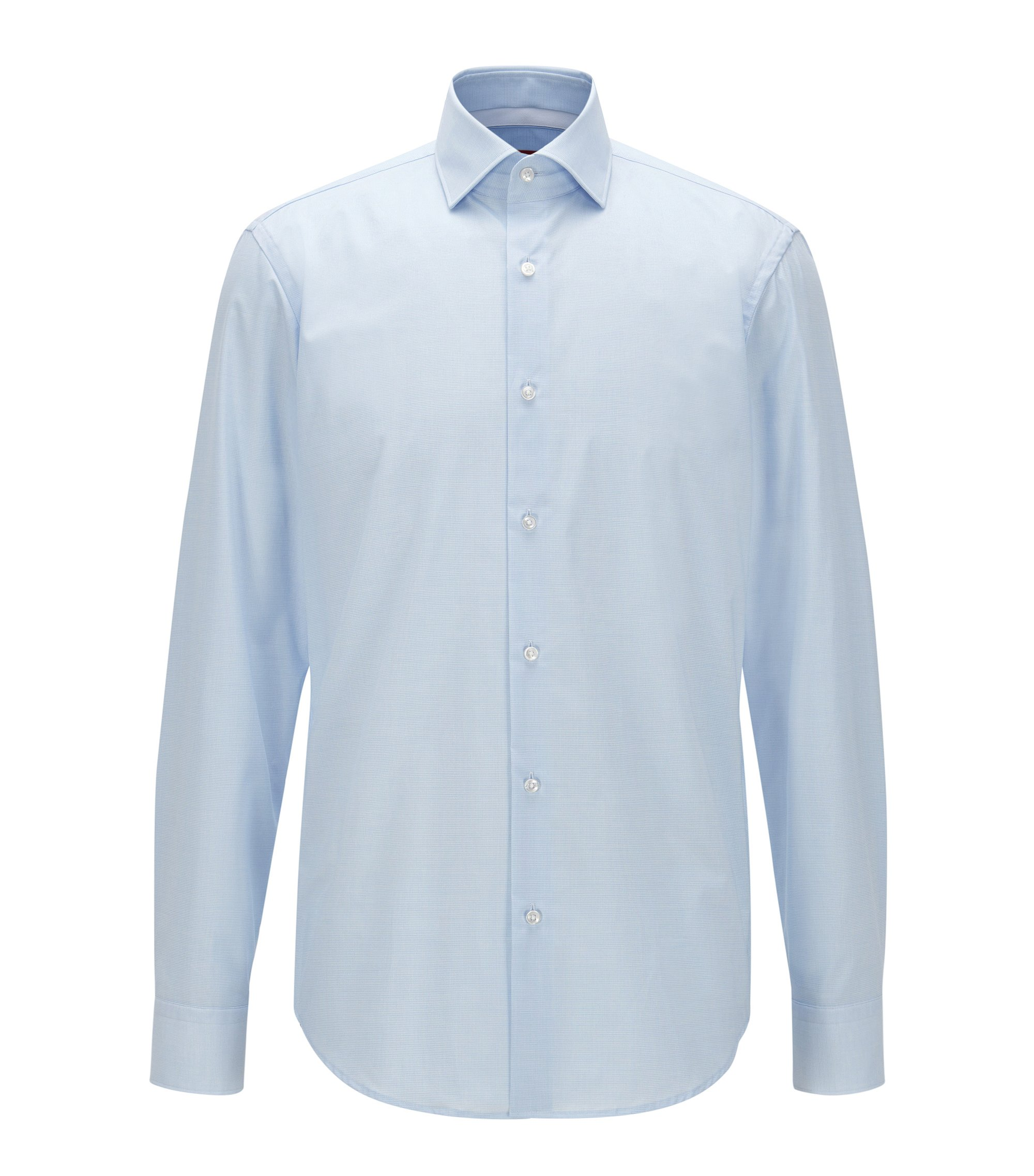 Regular-fit shirt in checked cotton, Light Blue