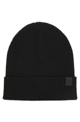 Snug knitted beanie hat in wool blend, Zwart