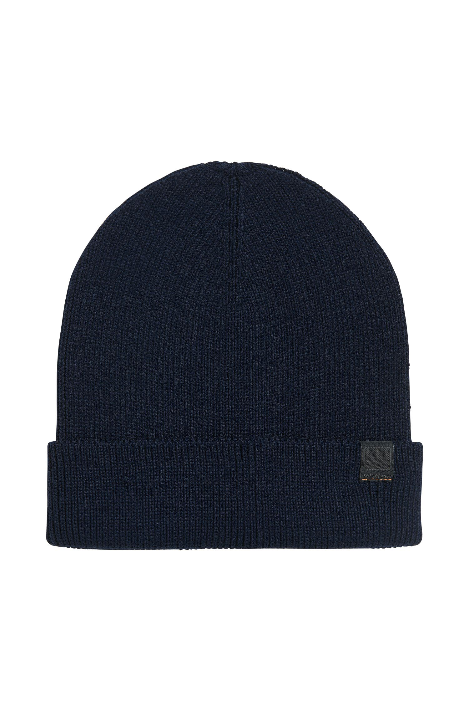 Snug knitted beanie hat in wool blend