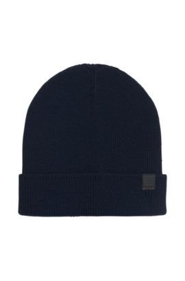 Snug knitted beanie hat in wool blend, Bleu foncé
