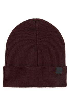 Snug knitted beanie hat in wool blend, Dark Red