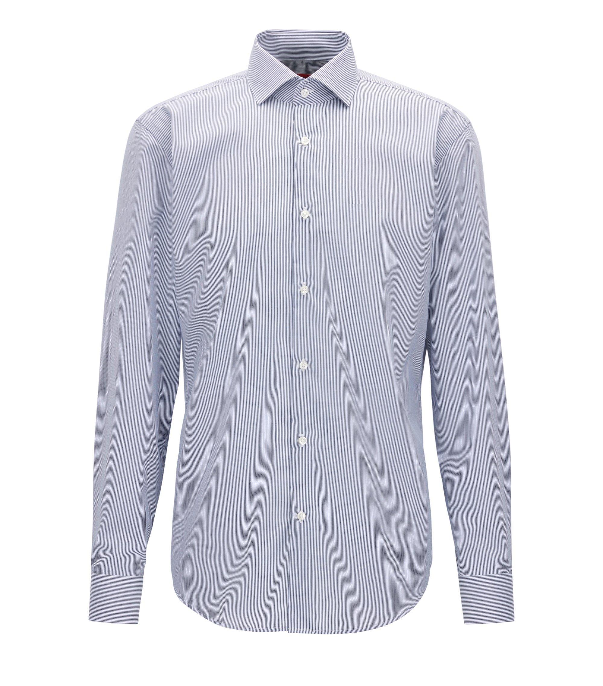 Regular-fit overhemd van katoen met strepen, Donkerblauw