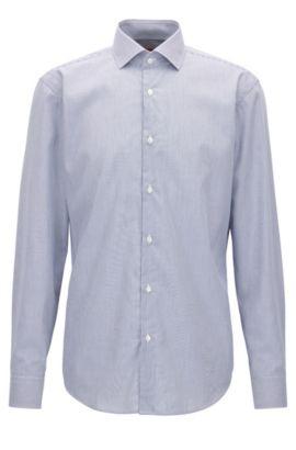Chemise Regular Fit en coton à rayures, Bleu foncé