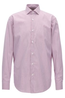 Gestreiftes Regular-Fit Hemd aus Baumwolle, Dunkelrosa