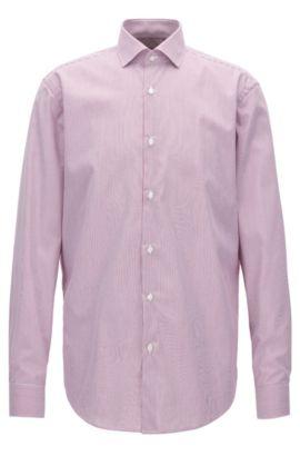 Gestreiftes Regular-Fit-Hemd aus Baumwolle, Dunkelrosa