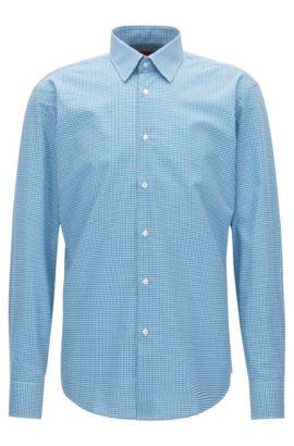 Regular-fit overhemd van geruite katoen, Donkerblauw