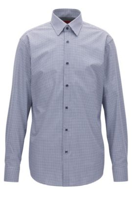 Camicia regular fit in cotone a quadri, Blu scuro
