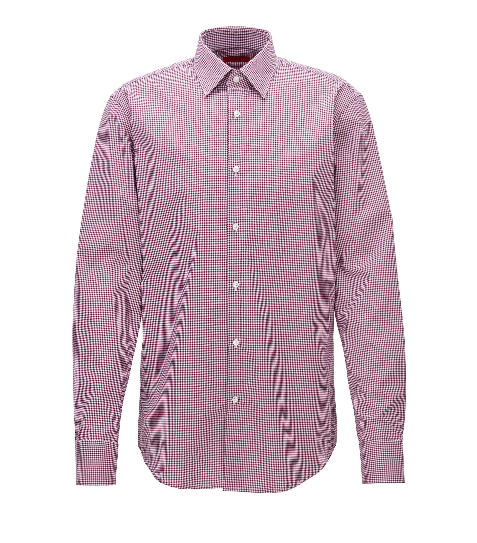 Regular-fit overhemd van geruite katoen, Donkerroze