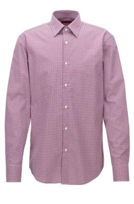 Chemise Regular Fit en coton à carreaux, Rose foncé