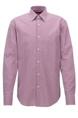 Regular-fit checked cotton shirt, Dark pink