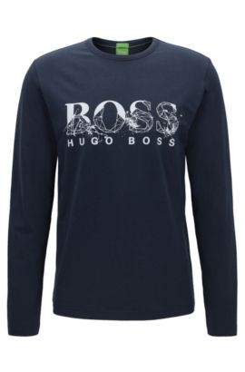 Geometric logo-print jersey T-shirt in a regular fit, Dark Blue