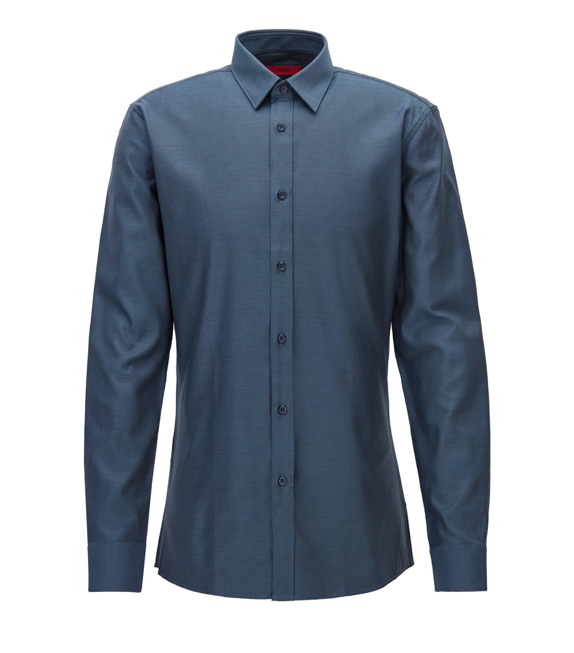 Modern gestructureerd overhemd van katoen in een slim-fit, Donkerblauw