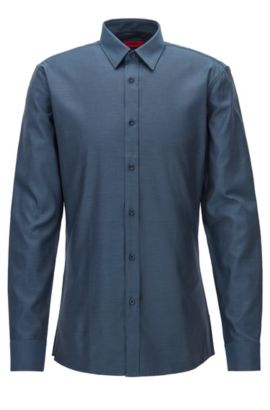 Modern structured cotton shirt in a slim fit, Dark Blue