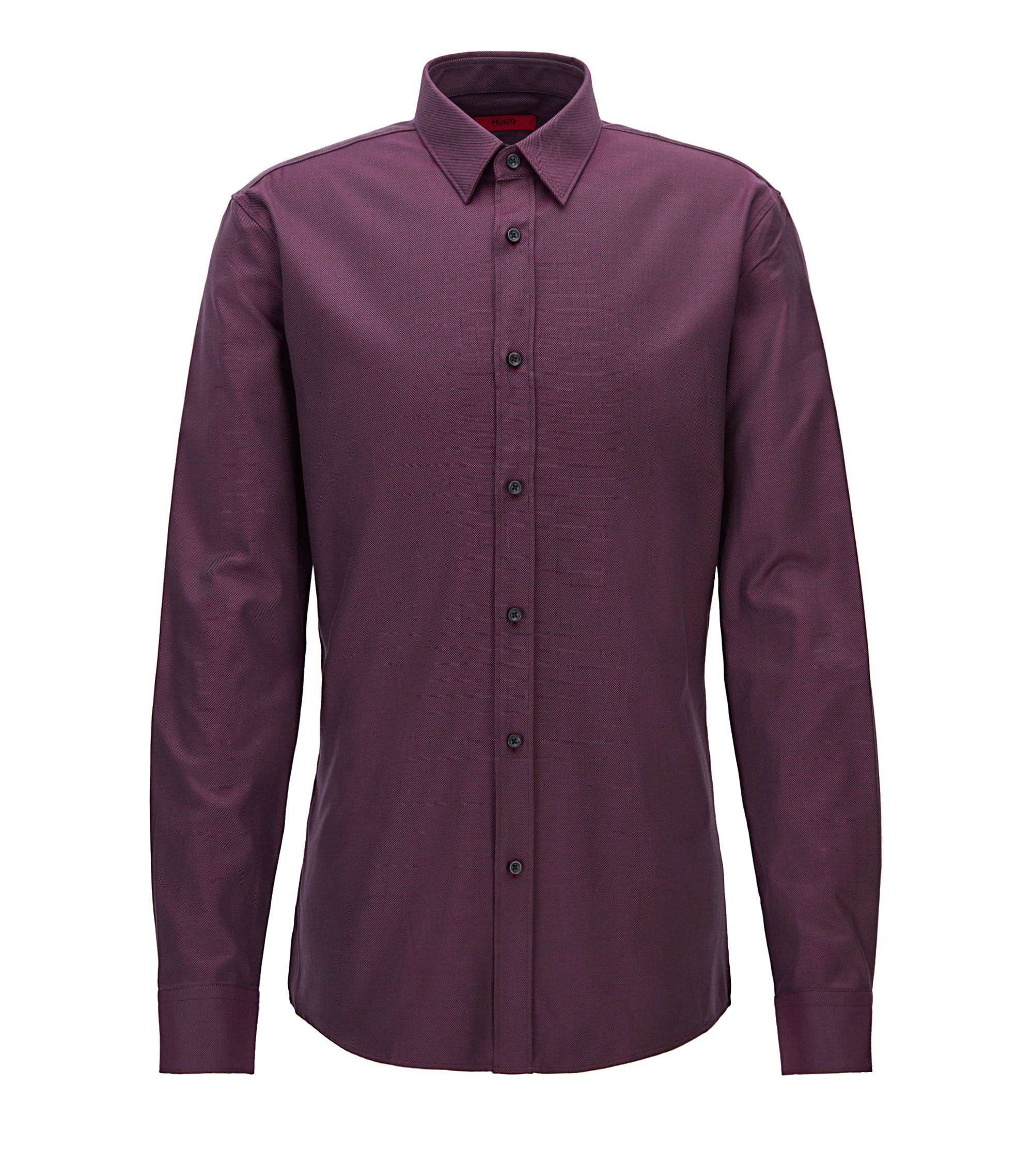 Camisa moderna slim fit de algodón con textura, Rojo oscuro