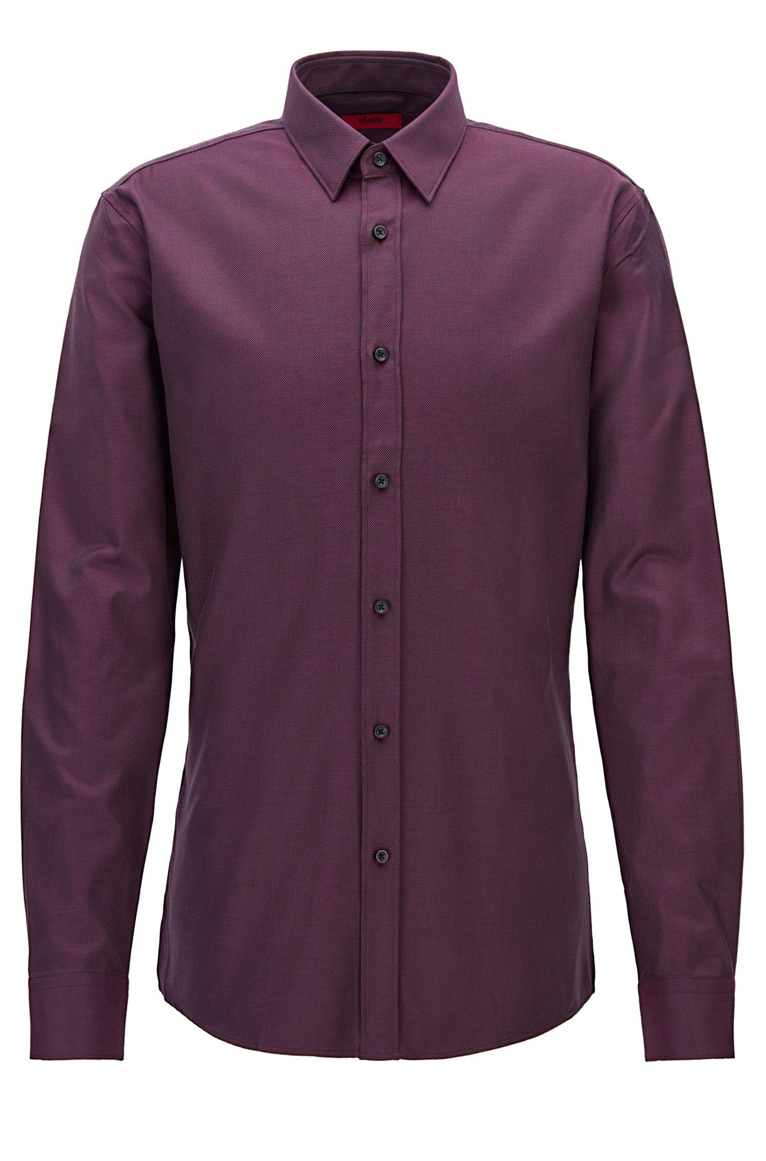 Modern gestructureerd overhemd van katoen in een slim-fit