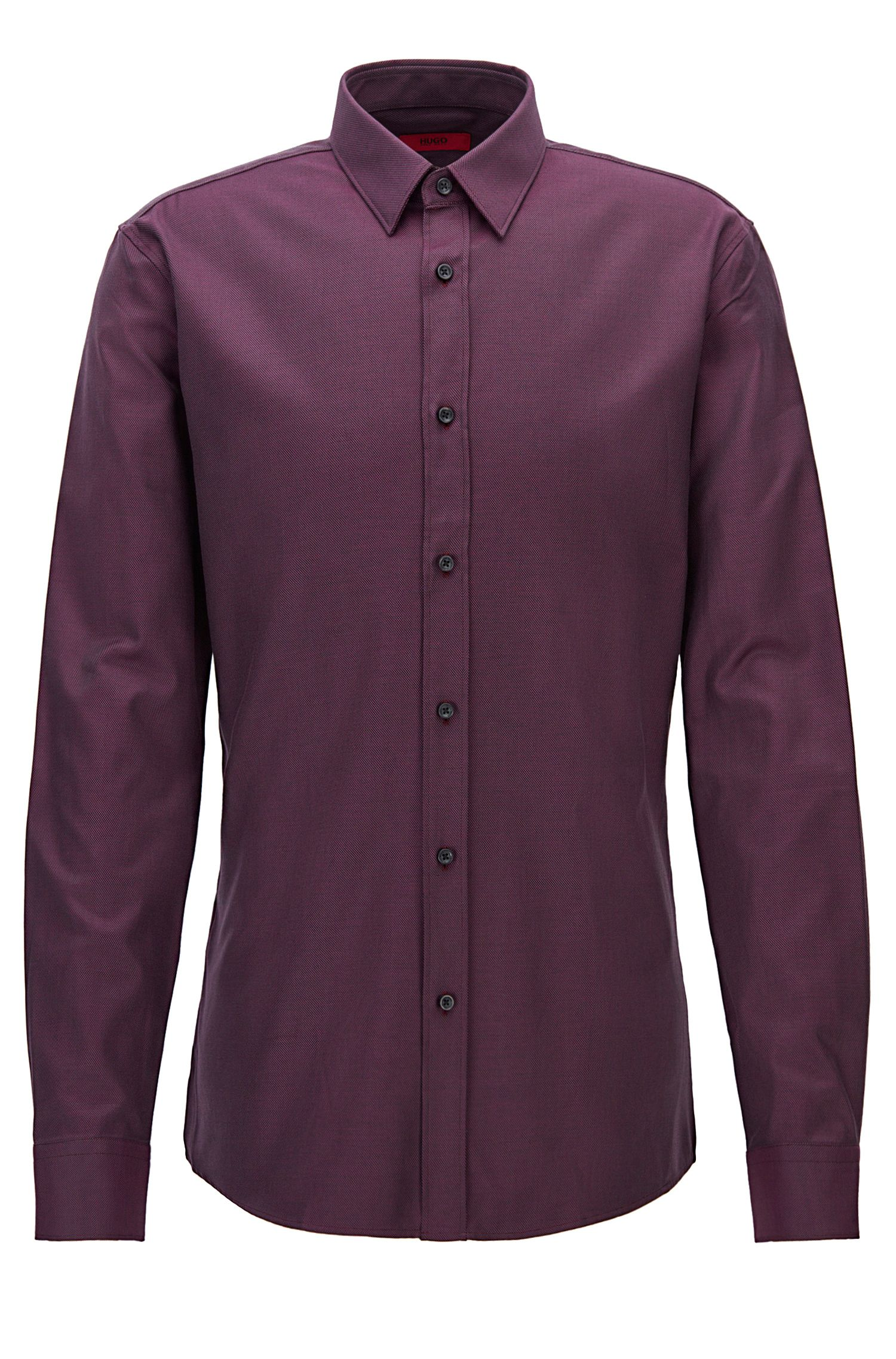 Modern structured cotton shirt in a slim fit