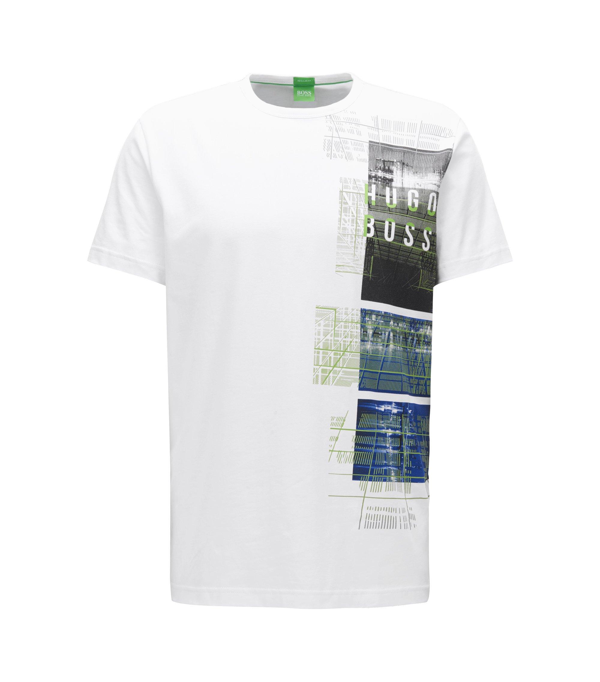 Camiseta regular fit en punto sencillo y elástico, Blanco