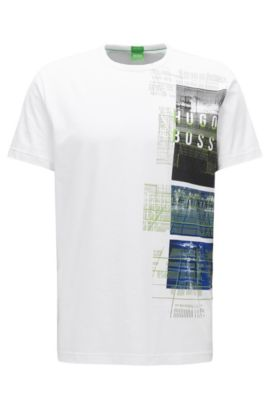 T-shirt Regular Fit en jersey simple stretch, Blanc