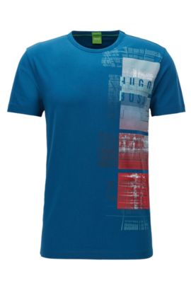 Camiseta regular fit en punto sencillo y elástico, Azul