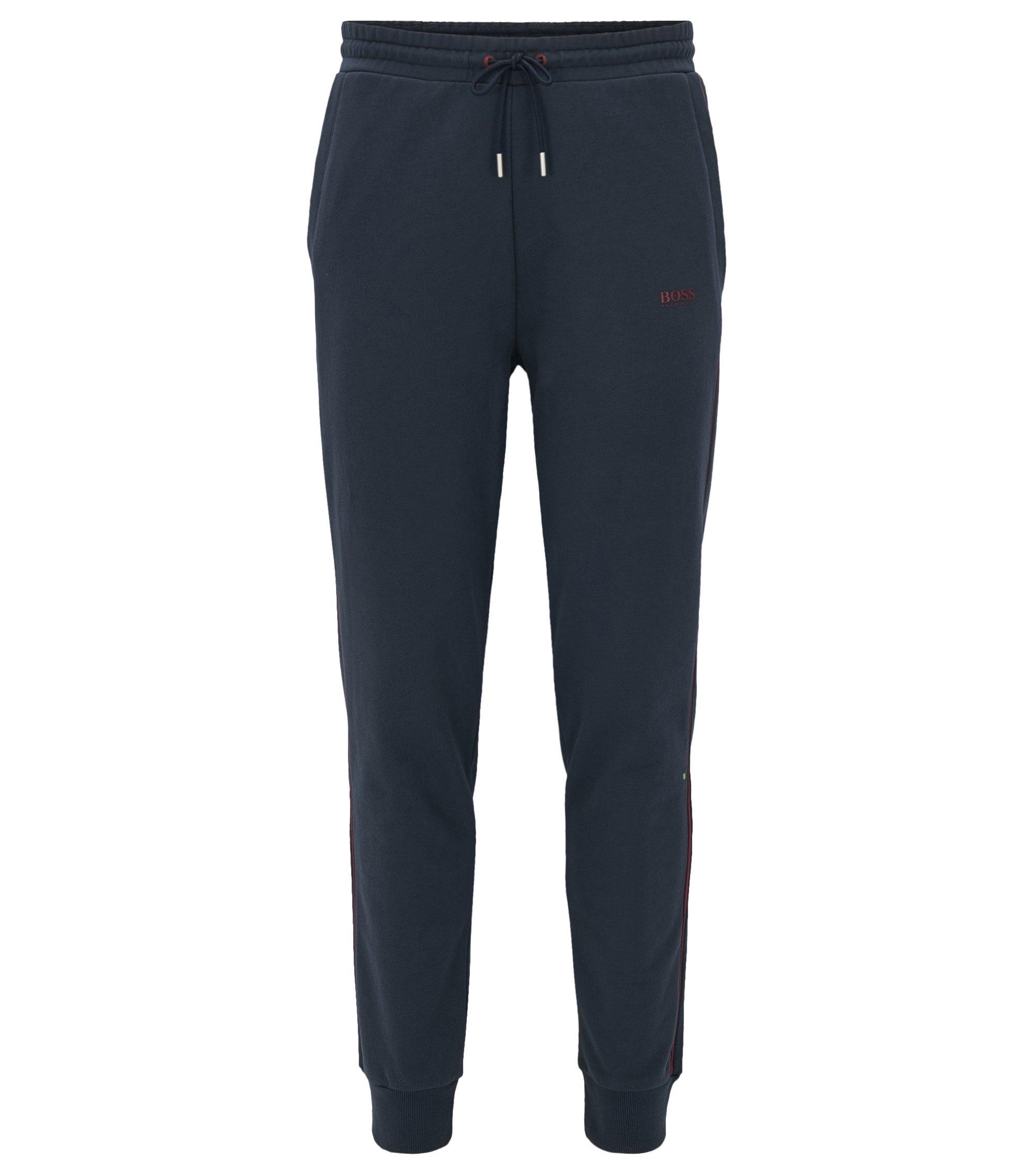 Pantaloni da jogging con bordi a coste in french terry, Blu scuro