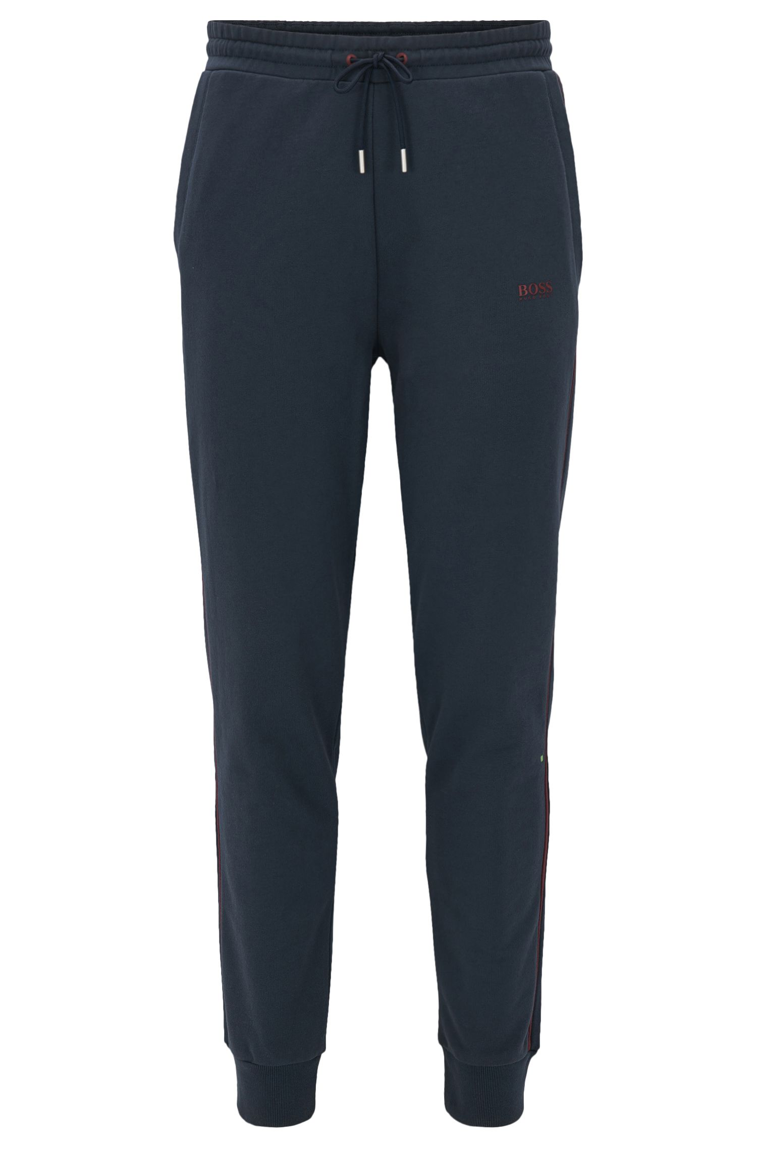 Pantaloni da jogging con bordi a coste in french terry