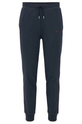 Pantaloni da jogging con bordi a coste in french terry, Blu scuro