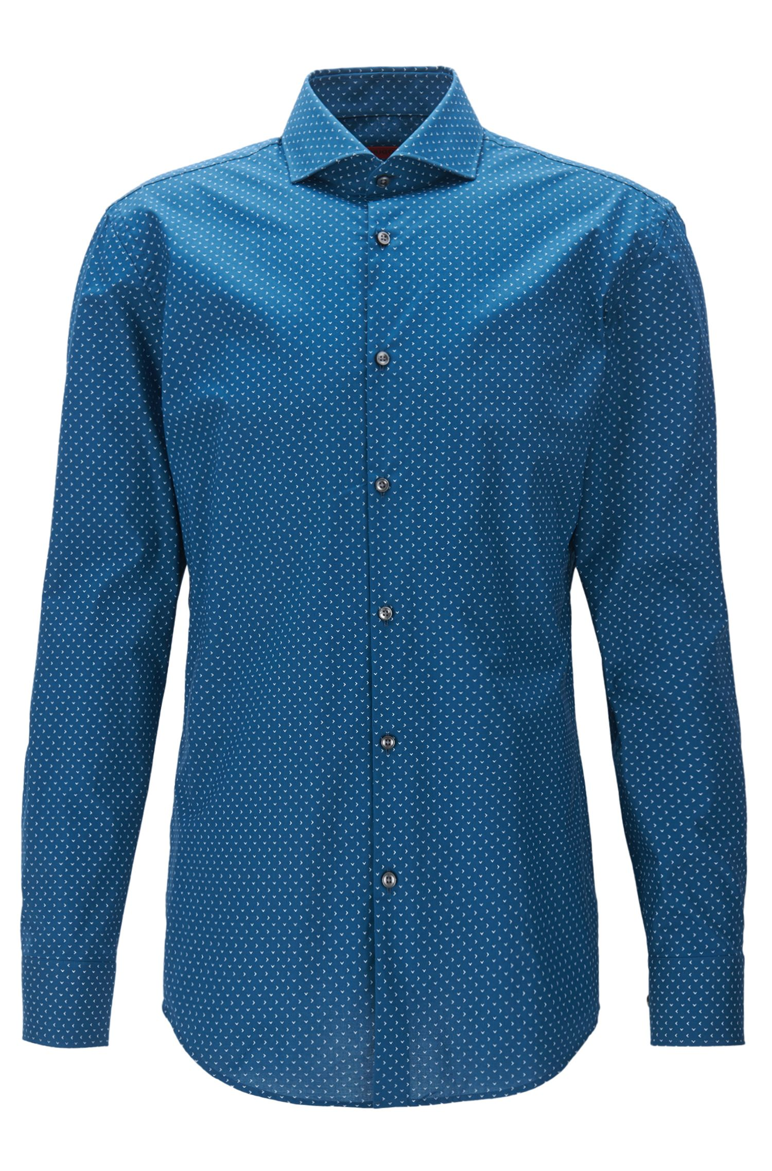 Camicia slim fit stampata in popeline di cotone