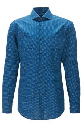 Printed slim-fit shirt in cotton poplin, Dark Blue
