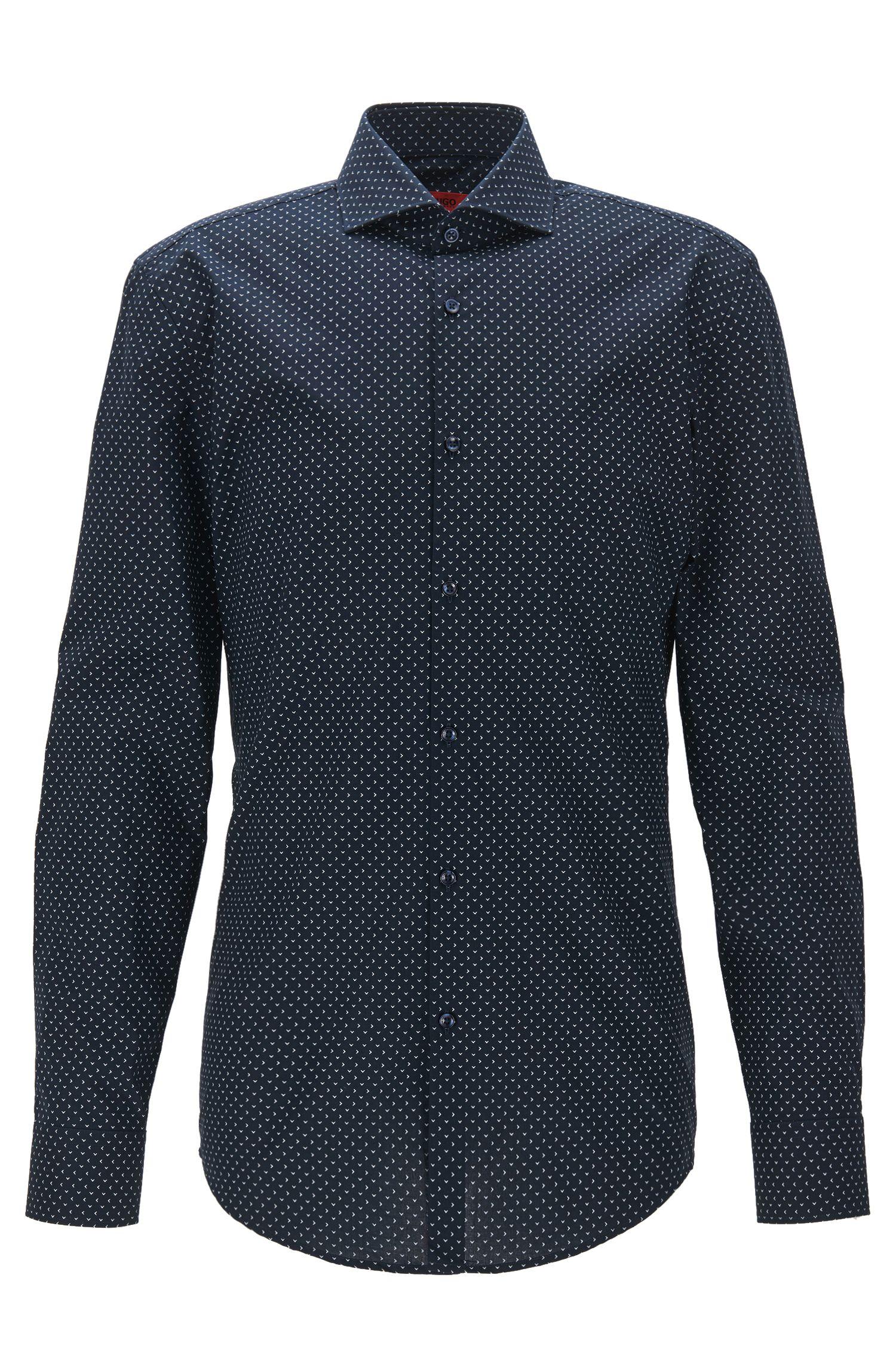 Printed slim-fit shirt in cotton poplin