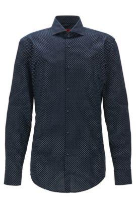 Camicia slim fit stampata in popeline di cotone, Blu scuro