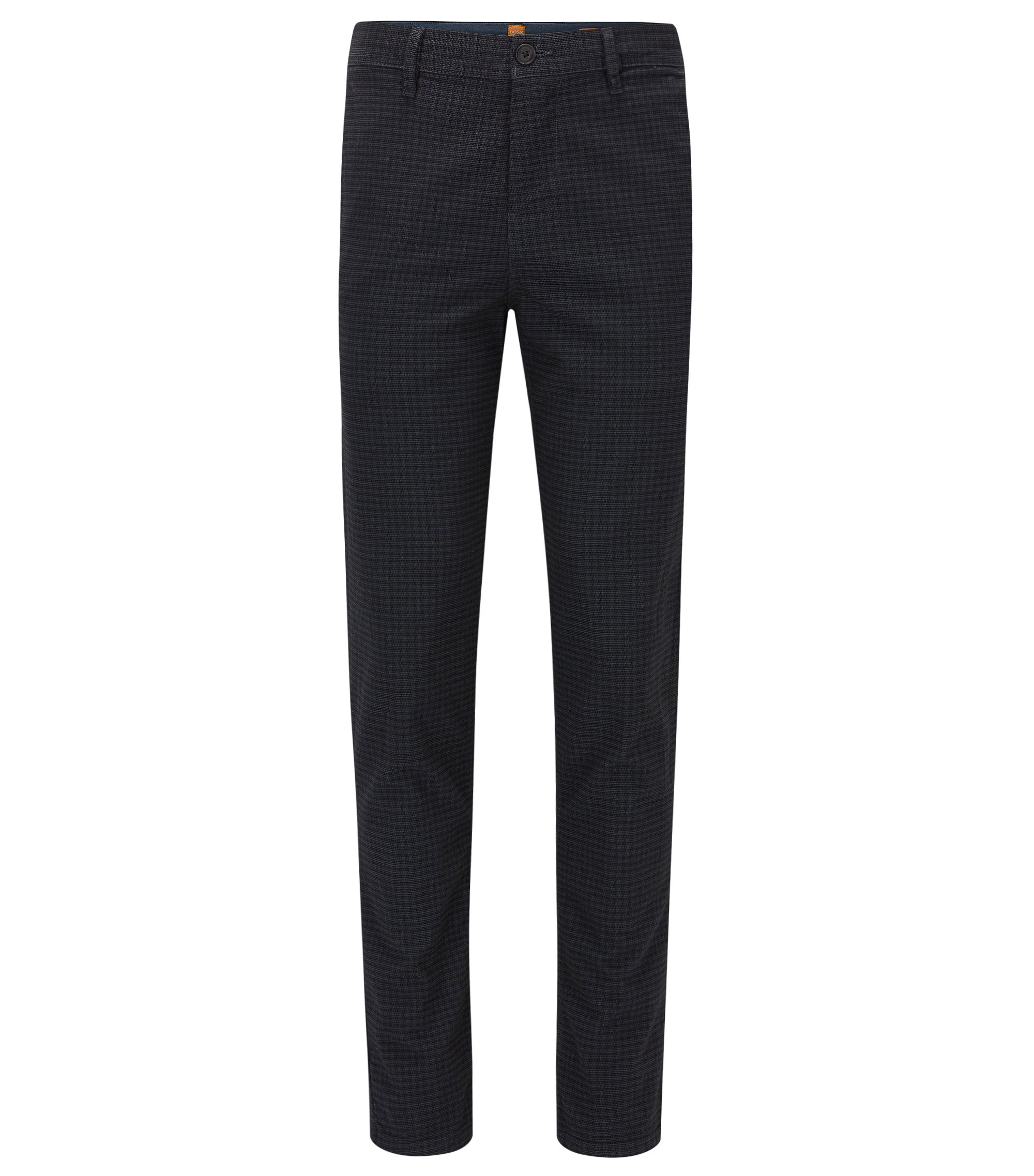 Tapered-fit trousers in a cotton blend, Dark Blue