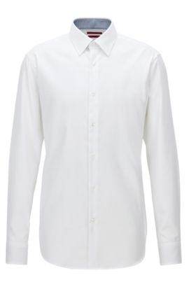 Camisa regular fit en popelín de algodón, Blanco