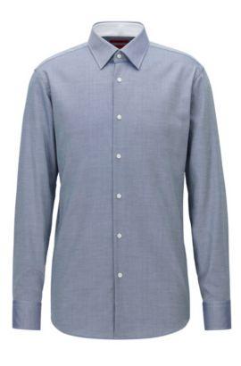 Regular-fit shirt in cotton poplin, Blue