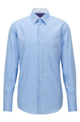 Chemise Regular Fit en popeline de coton, Bleu vif