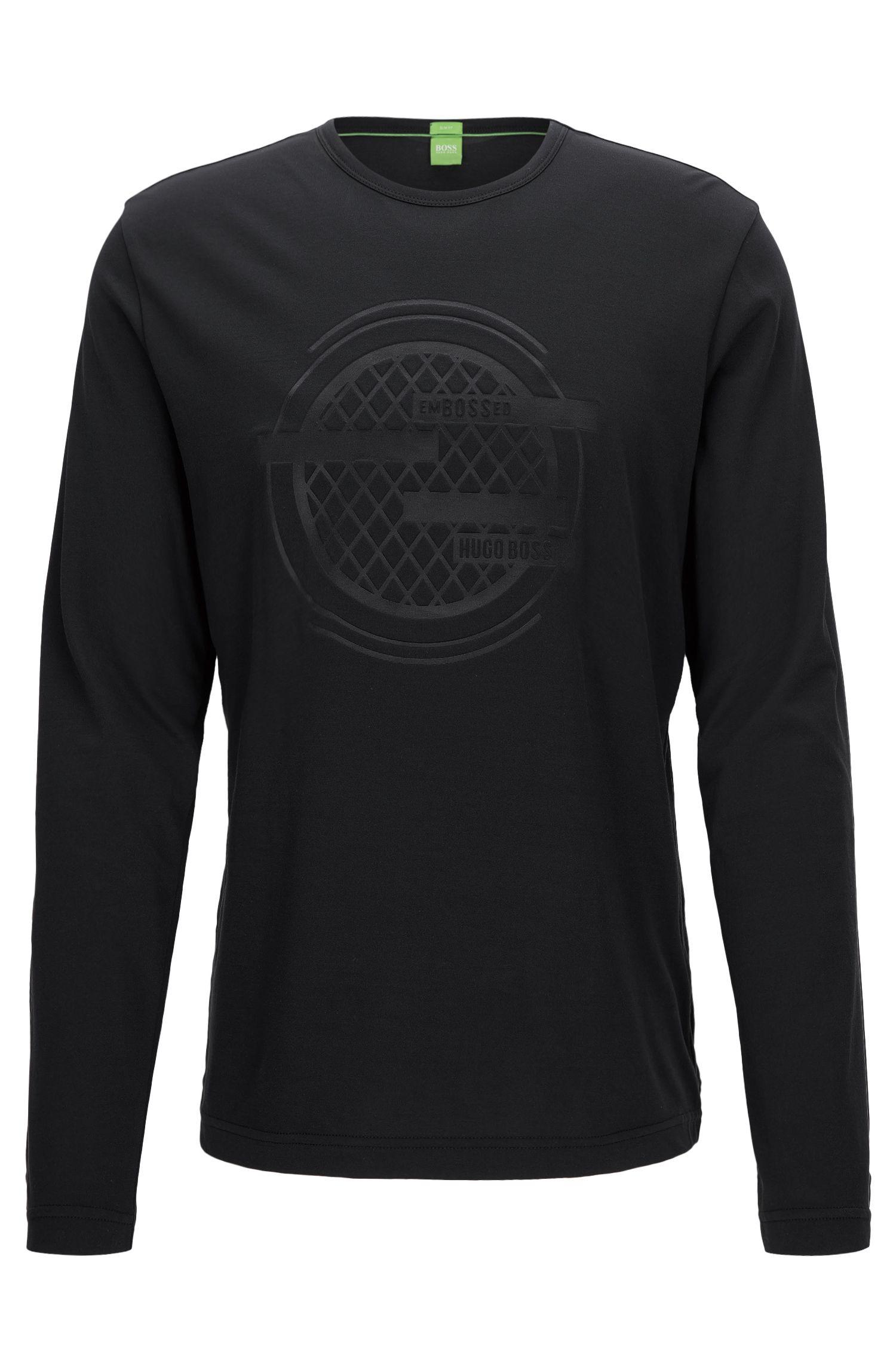 T-shirt van een katoenmix met lange mouwen