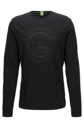 Long-sleeved T-shirt in a cotton mix, Black