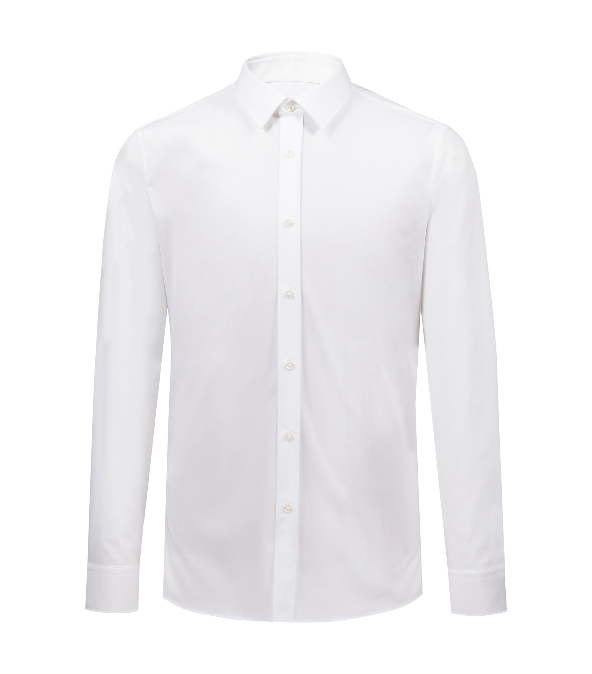 Extra-slim-fit shirt in cotton poplin, Open White