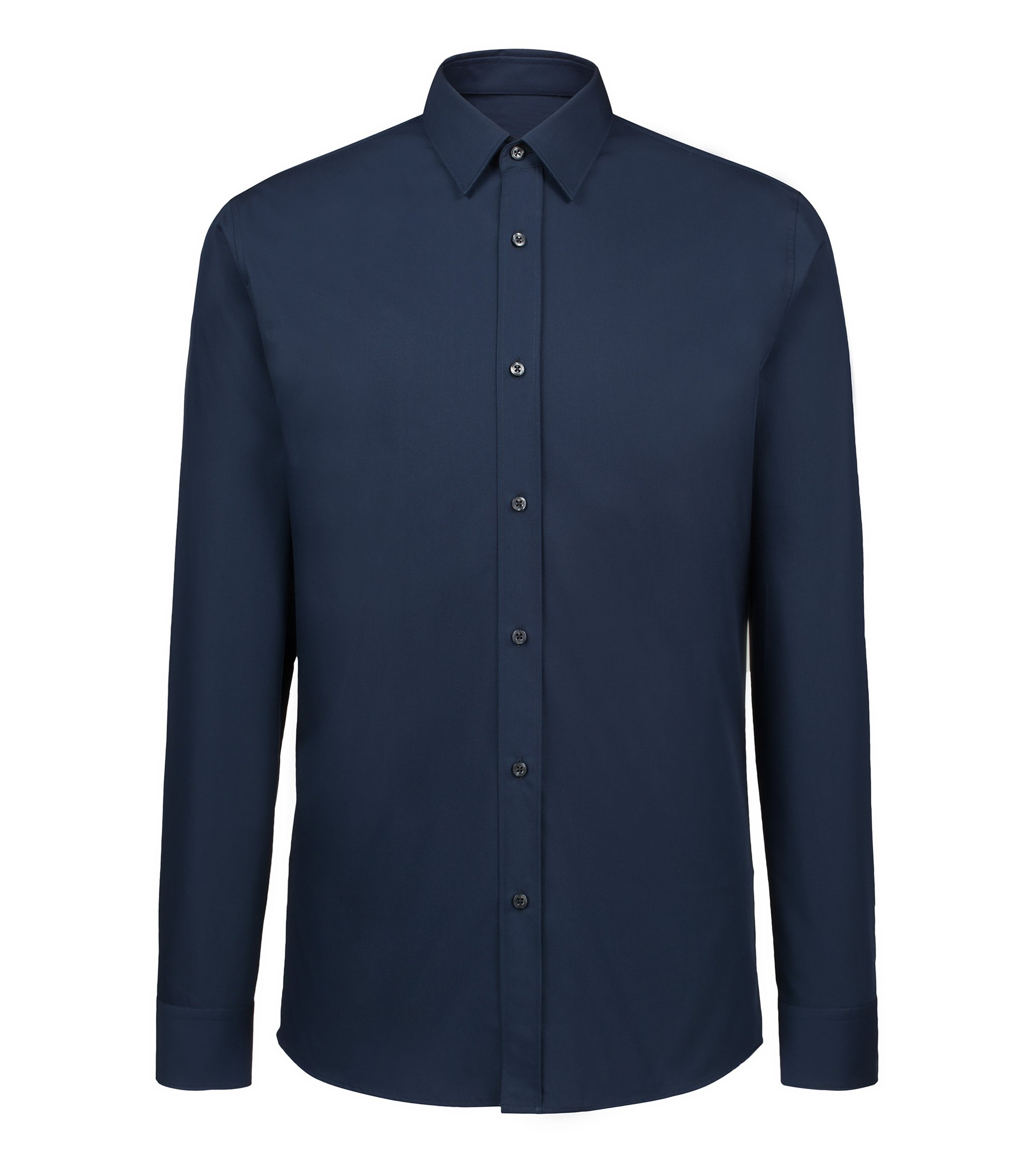 Extra-slim-fit shirt in cotton poplin, Dark Blue
