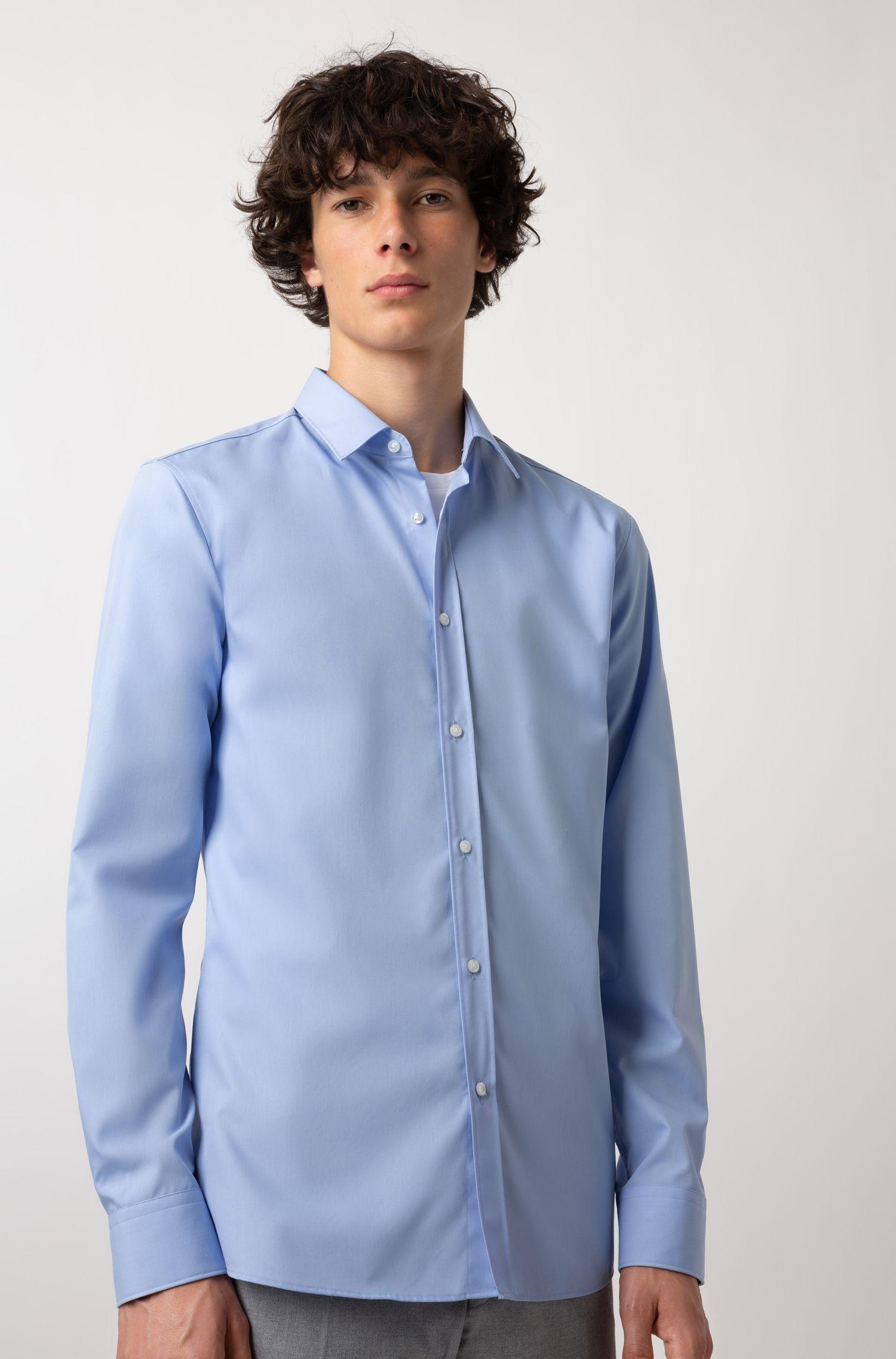 Extra slim-fit overhemd van katoenpopeline, Lichtblauw
