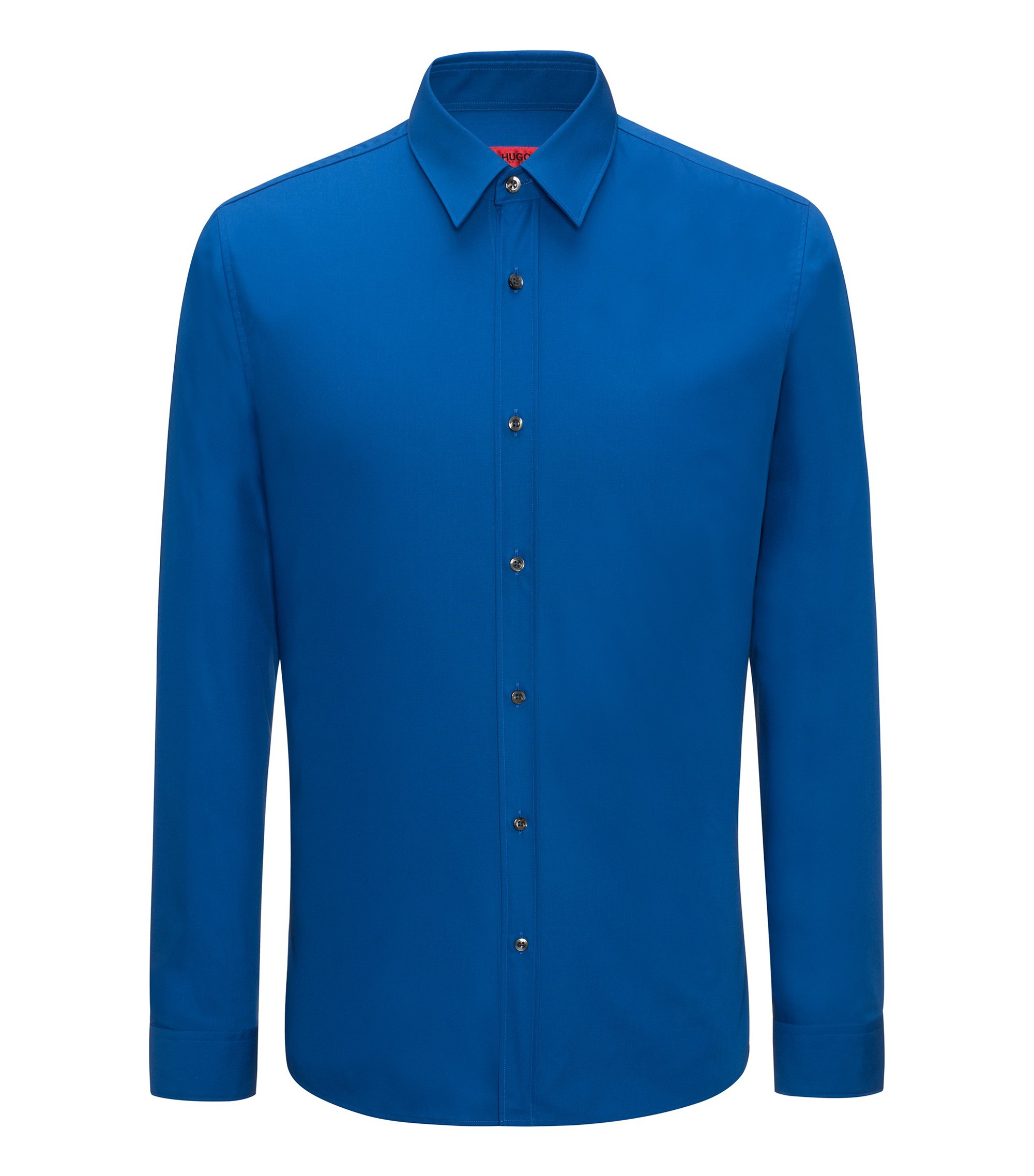 Extra-slim-fit shirt in cotton poplin, Blue