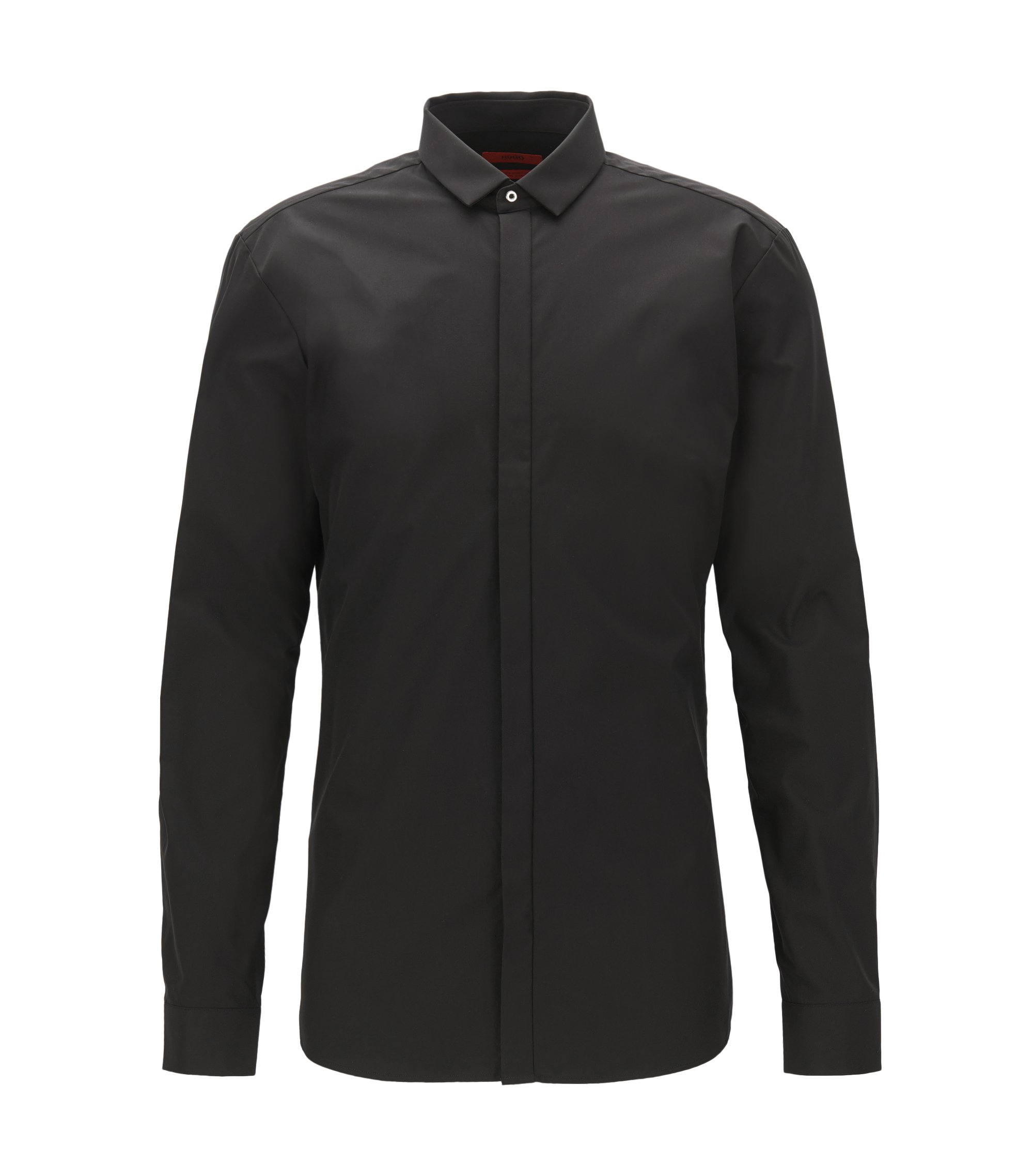 Extra-slim-fit cotton shirt with concealed placket, Black