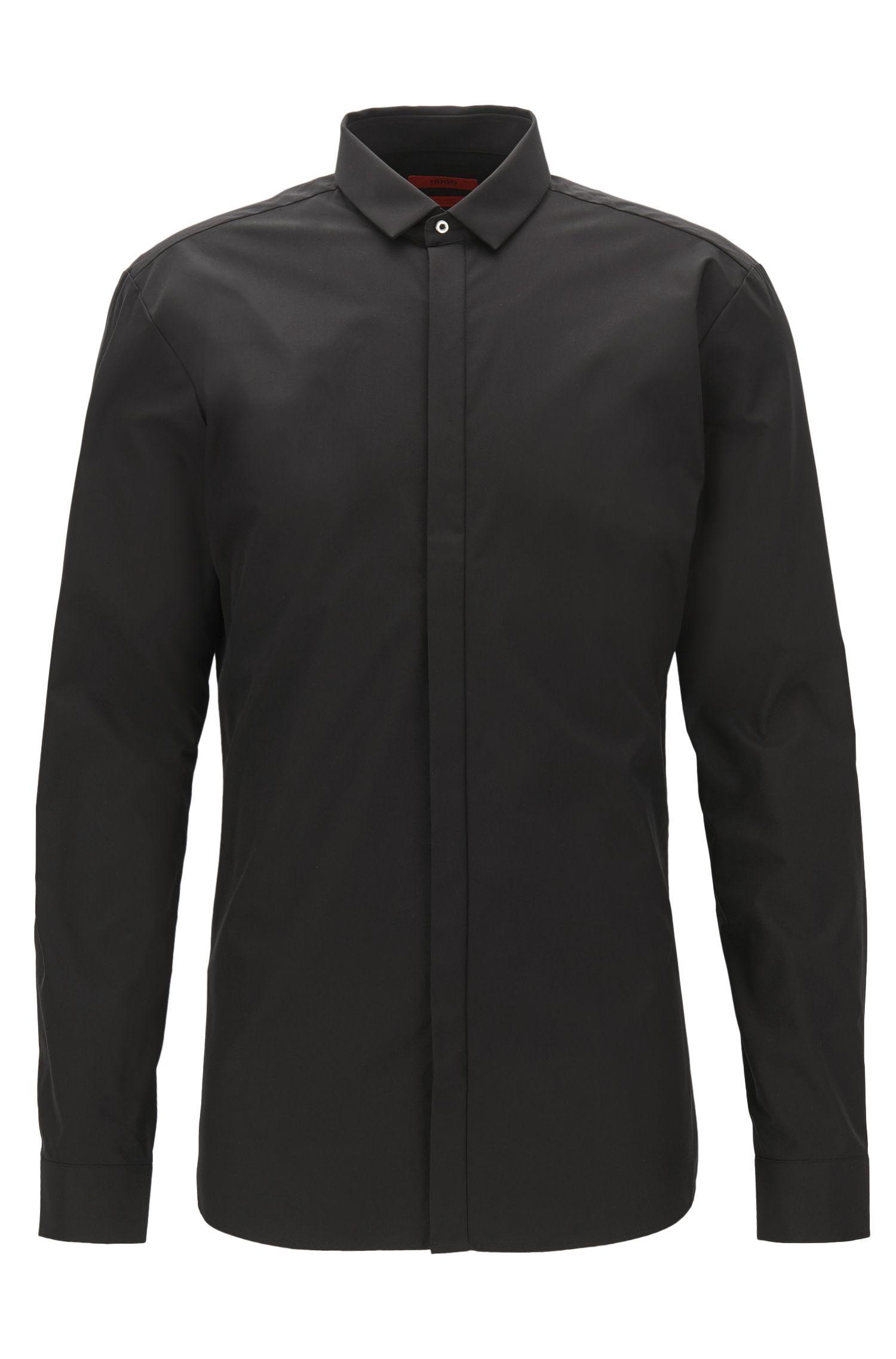 Extra-Slim-Fit-Hemd aus Baumwolle mit verdeckter Knopfleiste