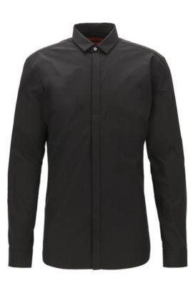 Chemise Extra Slim Fit en coton à patte de boutonnage dissimulée, Noir