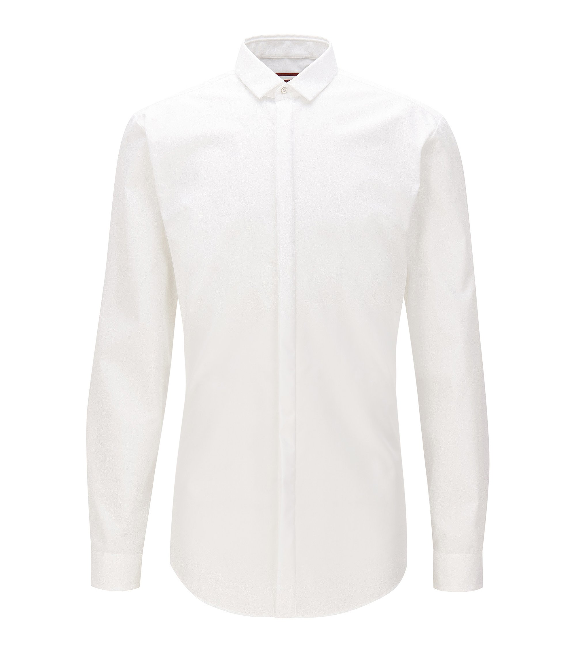 Extra-slim-fit cotton shirt with concealed placket, Open White